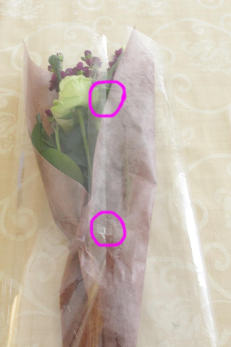 ミニ花束ラッピングの方法