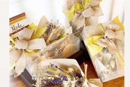 無添加焼き菓子、ドライフラワー花束